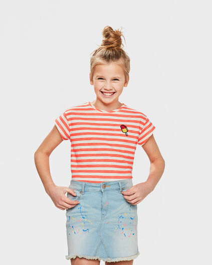 T-SHIRT STRIPED FILLE Rose