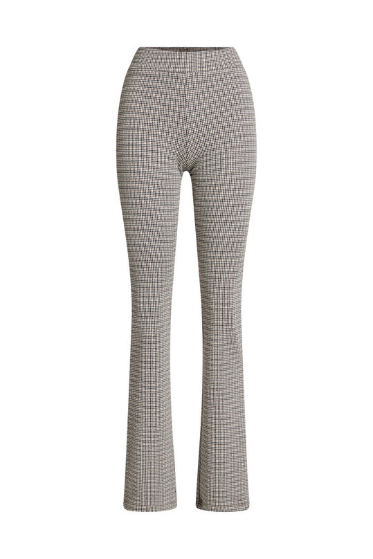 Leggings flared à carreaux femme Beige