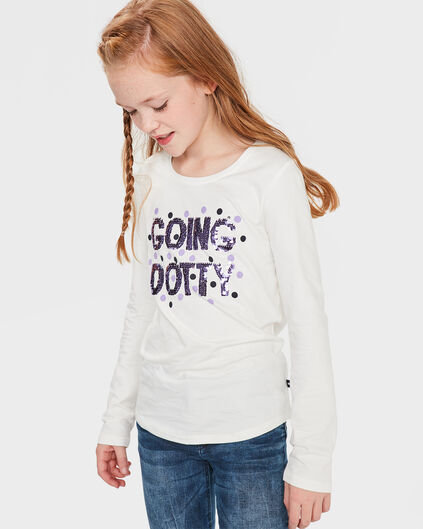 T-SHIRT GOING DOTTY FLIP SEQUINS FILLE Blanc