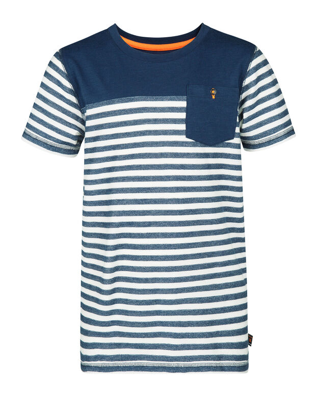 T-SHIRT ONE POCKET R-NECK STRIPED GARÇON Bleu foncé