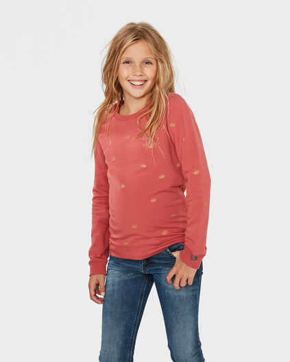 SWEAT-SHIRT QUEEN OF COOL FILLE Rose corail