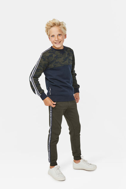 Pantalon sweat world print garçon Vert armee