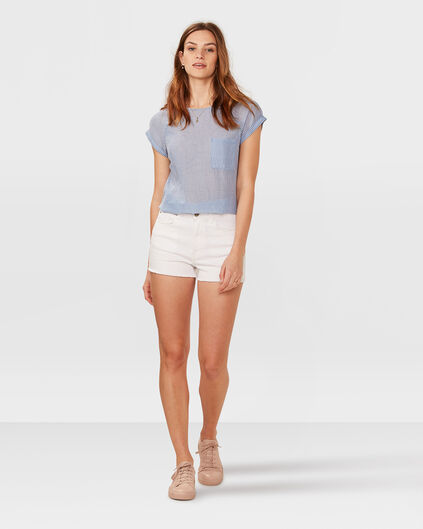 SHORT HIGH RISE DENIM FEMME Blanc