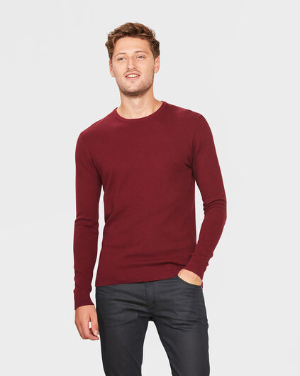 PULL STRUCTURE R-NECK HOMME Bordeaux