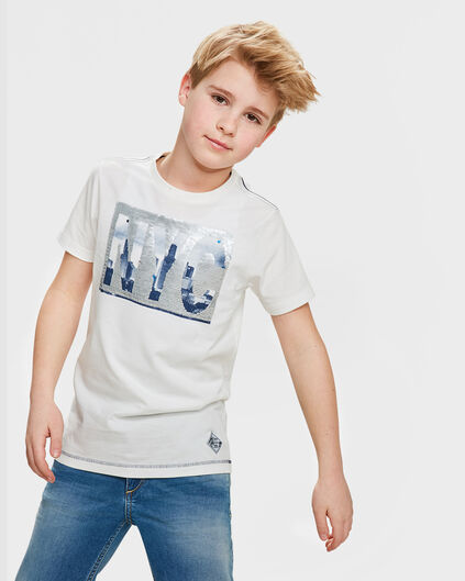 T-SHIRT NEW YORK FLIP SEQUIN GARÇON Blanc