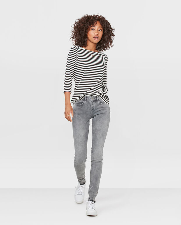 JEANS MID RISE SUPER SKINNY HIGH STRETCH FEMME Gris
