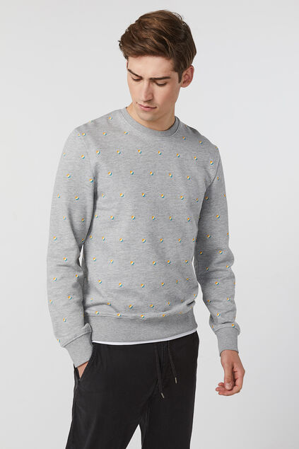 Sweat-shirt à motif homme Gris