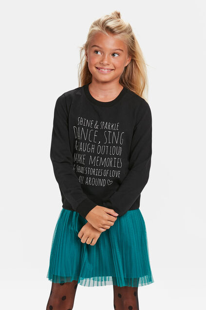 SWEAT-SHIRT SHINE PRINT FILLE Noir