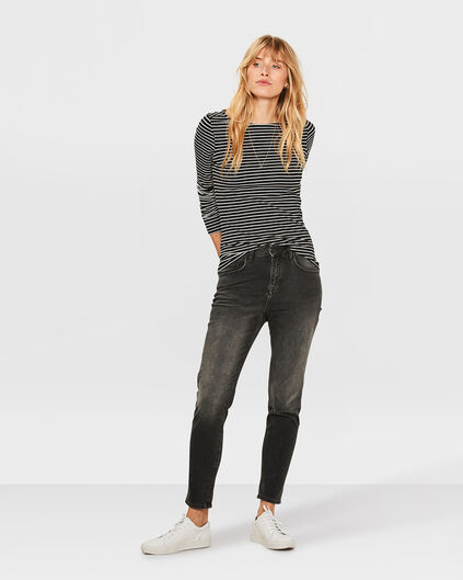 JEANS HIGH RISE TAPERED GIRLFRIEND COMFORT STRETCH FEMME Noir