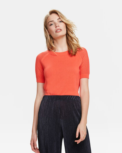 TOP R-NECK KNIT PATTERN FEMME Orange