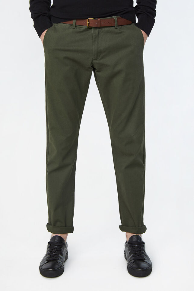 Pantalon chino slim tapered uni homme Vert armee