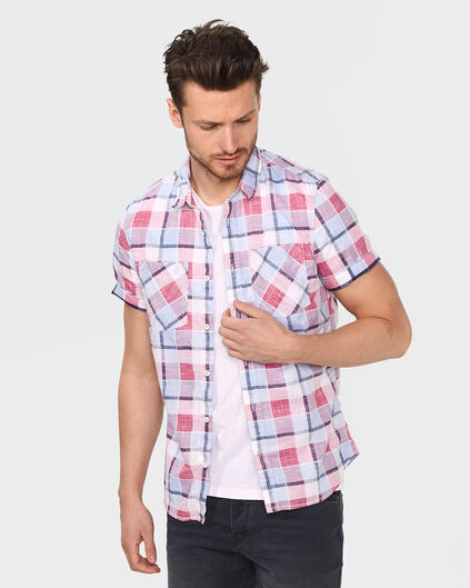CHEMISE SLIM FIT CHECKED HOMME Rouge eclair