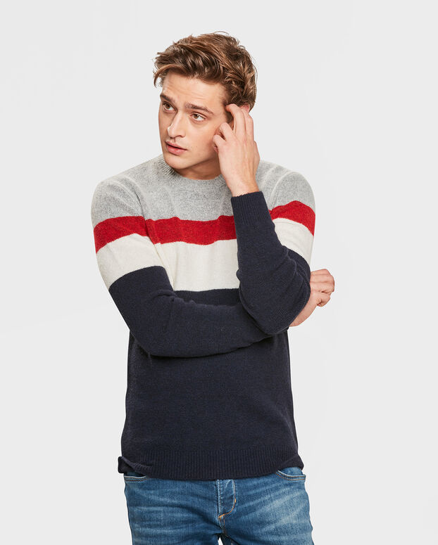 PULL STRIPED HOMME Bleu marine