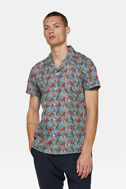 Chemise relaxed fit à motif homme Turquoise