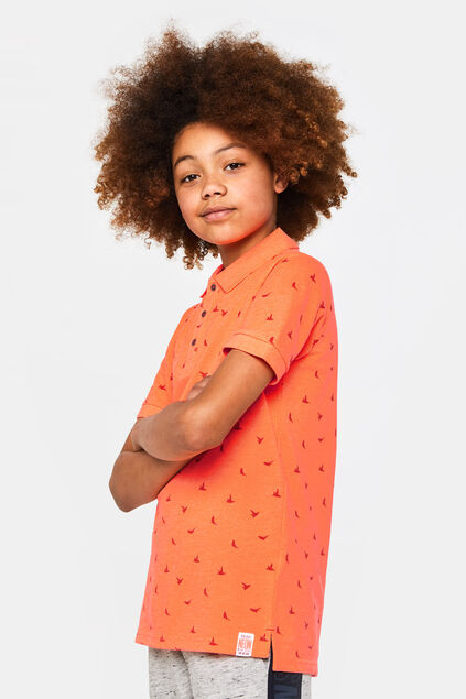 Polo à motif garçon Orange vif