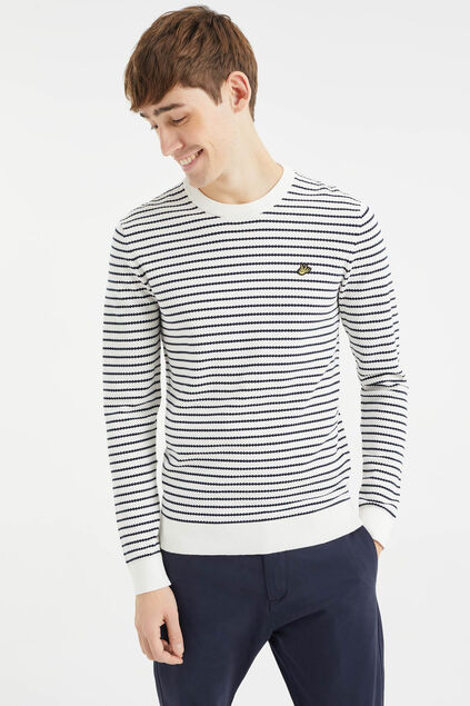 Pull à structure et rayures homme Blanc