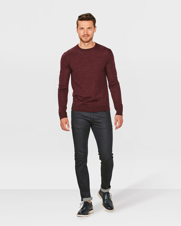 PULL COL ROND MERINO WOOL HOMME Bordeaux