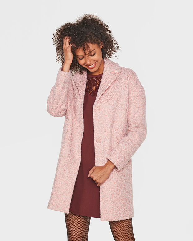 MANTEAU WOOL BLEND FEMME Rose saumon