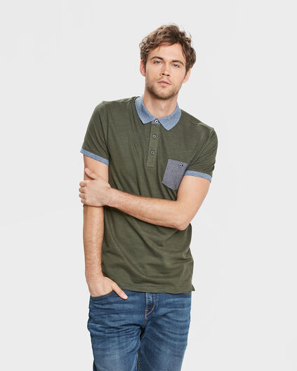 POLO CONTRASTE HOMME Vert armee
