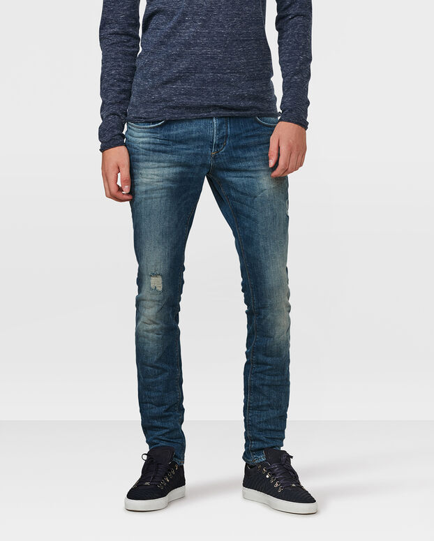 JEANS SLIM TAPERED COMFORT STRETCH DAMAGED HOMME Bleu