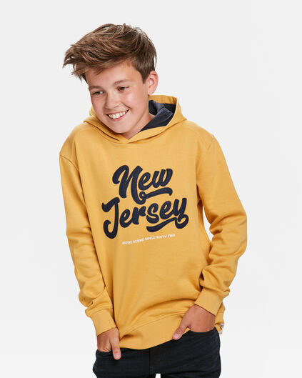 SWEAT-SHIRT À CAPUCHON NEW JERSEY PRINT GARÇON Jaune moutarde