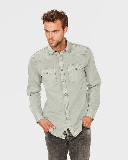 CHEMISE RELAXED FIT DENIM HOMME Vert clair