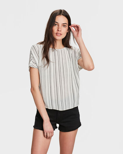 TOP STRIPED BOXY FIT FEMME Blanc