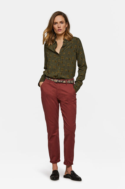 Chino slim tapered femme Rouge
