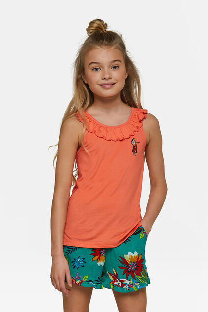 Top ruffle fille Orange
