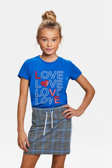 T-shirt à imprimé love pailleté fille Bleu
