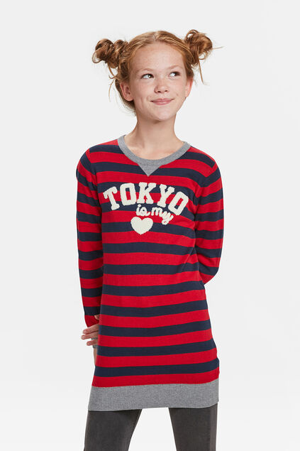 ROBE IMPRESSION TOKYO RAYÉE FILLE Rouge