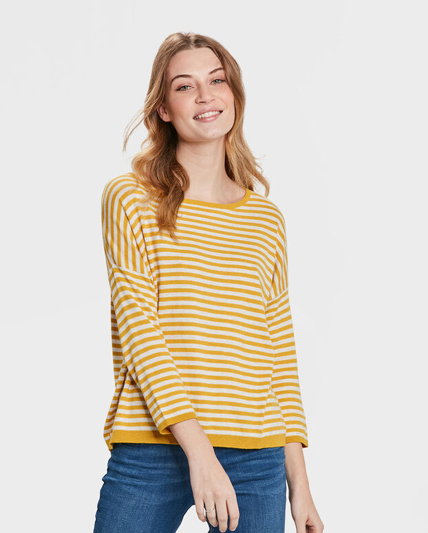 PULL STRIPED FEMME Jaune moutarde
