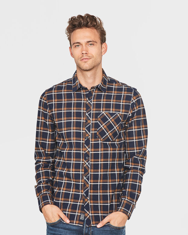 CHEMISE FLANNEL CHECKED HOMME Brun