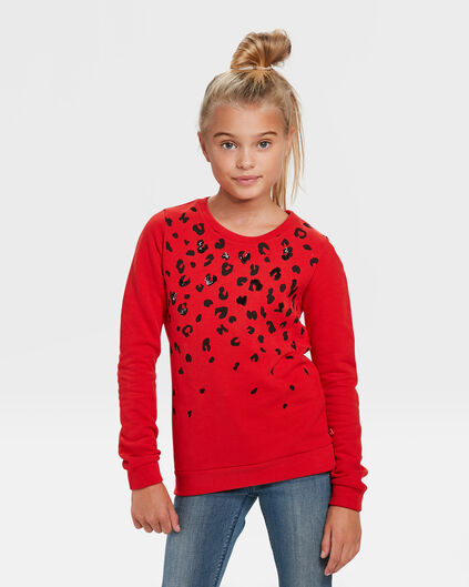 SWEAT-SHIRT TIGRE PAILLETÉ FILLE Rouge vif