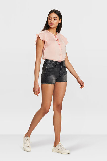 SHORT HIGH RISE SLIM FIT DENIM FEMME Noir