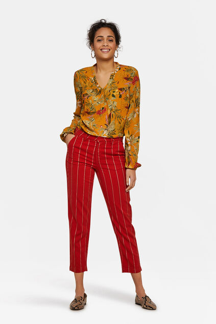 Chino slim fit rayé femme Orange