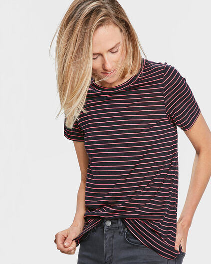 T-SHIRT R-NECK STRIPED FEMME Bleu