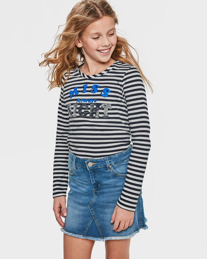 T-SHIRT MISS RIGHT FLIP SEQUINS FILLE Bleu vif