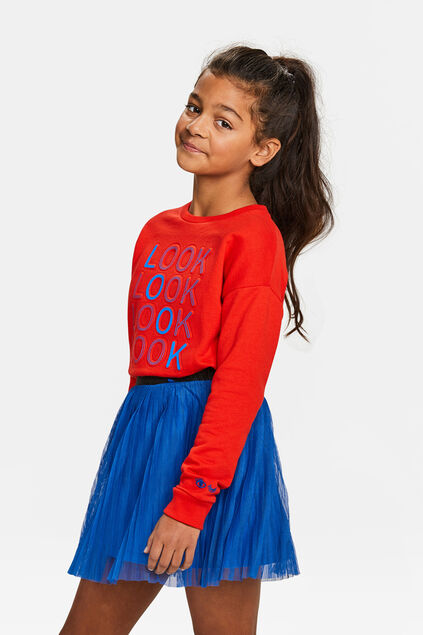 Sweat-shirt embroidery fille Rouge vif