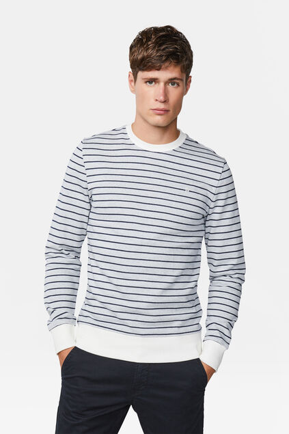 Sweat-shirt striped homme Blanc