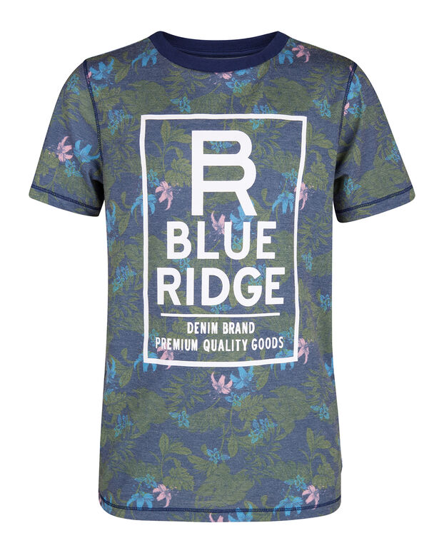 T-SHIRT BLUE RIDGE FLOWER PRINT GARÇON Bleu