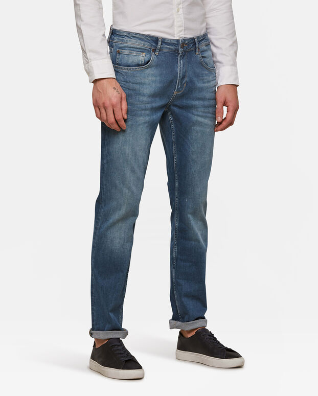 Jeans regular straight stretch homme Bleu