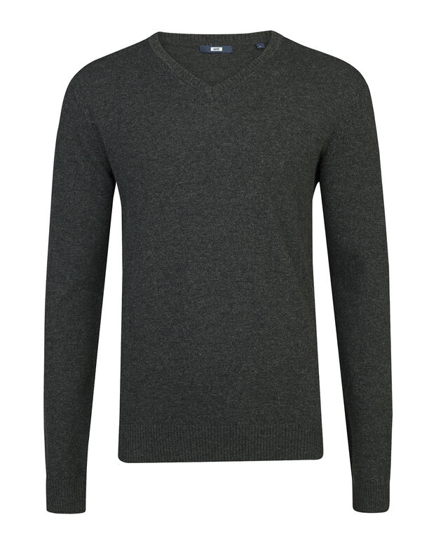 PULL V-NECK LAMBSWOOL BLEND HOMME Anthracite