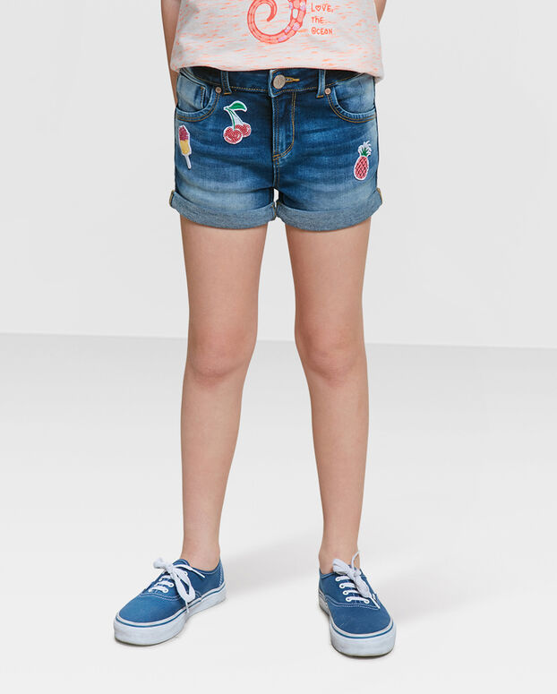 SHORT REGULAR SUPER STRETCH FILLE Bleu foncé