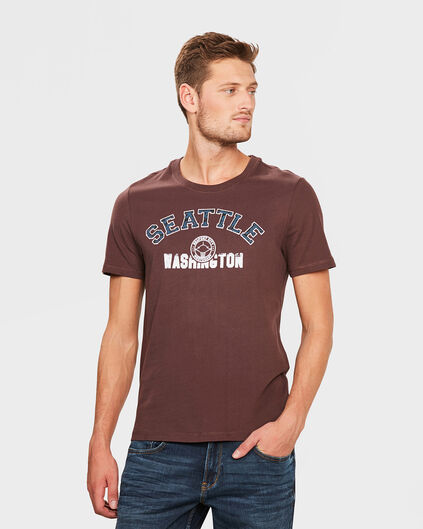 T-SHIRT PRINTED HOMME Brun rouille