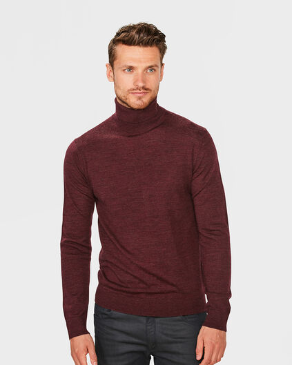 PULL COL-NECK LAINE MERINOS HOMME Rouge
