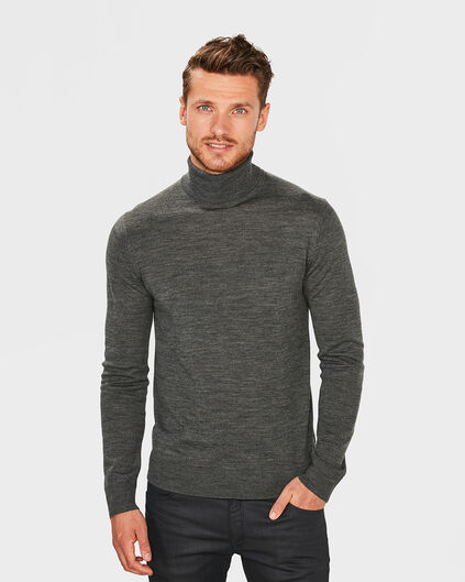 PULL COL-NECK LAINE MERINOS HOMME Gris