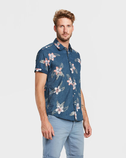 CHEMISE RELAXED FIT FLOWER PRINT HOMME Bleu marine