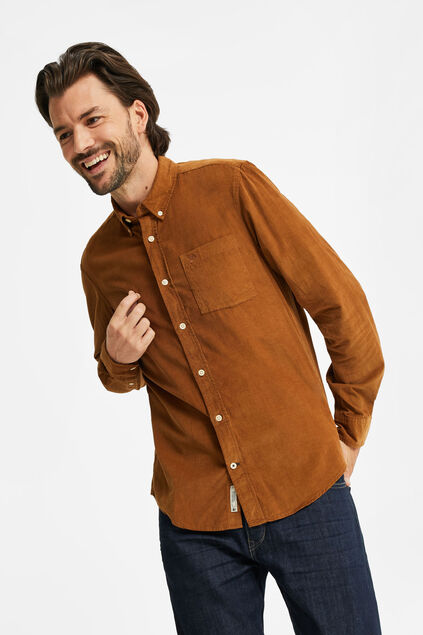 Chemise corduroy homme Brun Cannelle