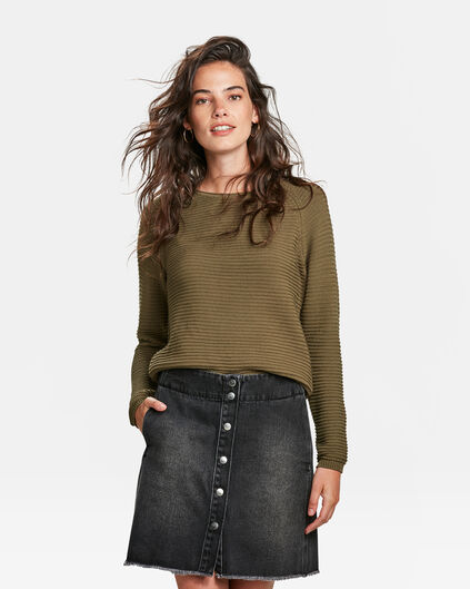PULL FIT LACHE FEMME Vert olive